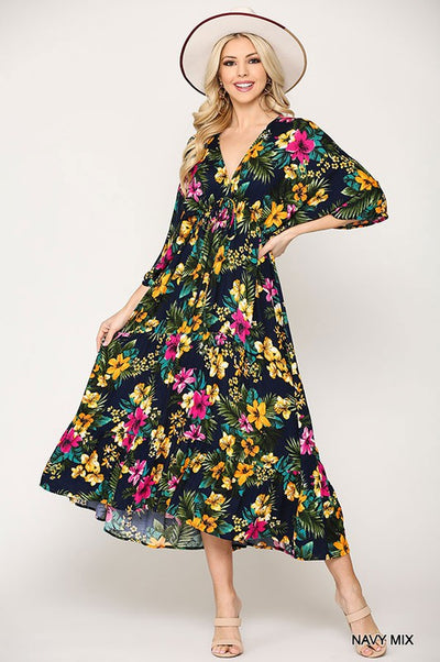 Charming You Boutique | Women's Tropical Print Maxi Dress, navy