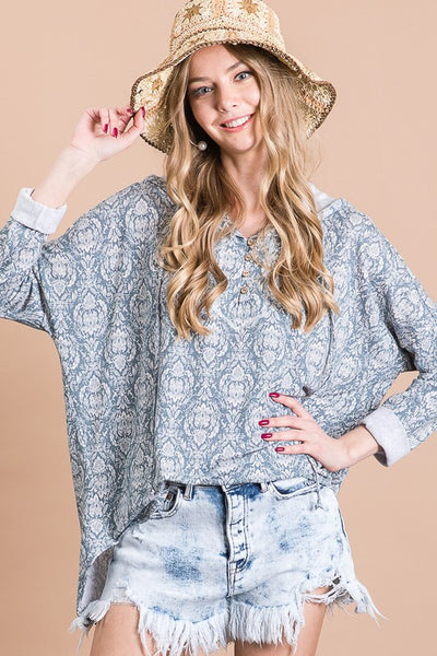 Charming You Boutique | Women's Top | Print Long Sleeve Loose Hoodie