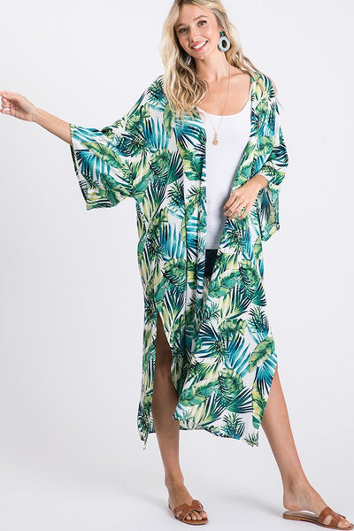 Charming You Boutique | Women's Outerwear | Tropical Print Long Kimono