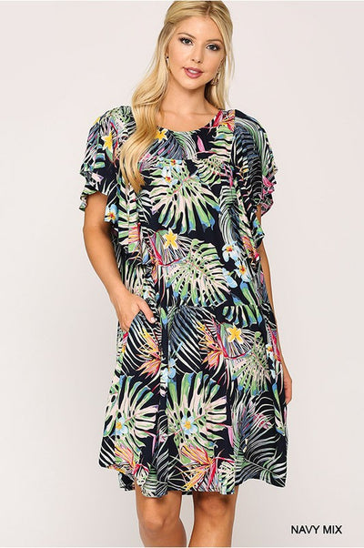 Charming You Boutique | Cute Women Tropical Print Mini Dress, navy