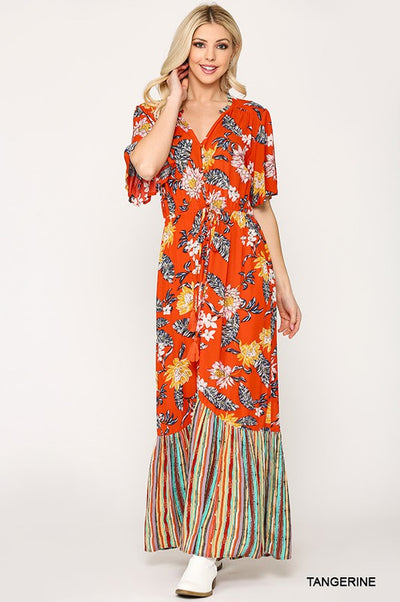 Charming You Boutique | Women's Button Down Floral Maxi Dress, tangerine