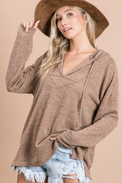 Charming You Boutique | Women's Top | Solid Long Sleeve Brushed Hoodie
