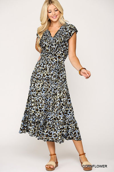 Charming You Boutique | Cute Women Leopard Smocking Midi Dress, cornflower