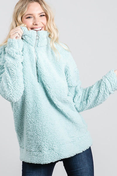 Charming You Boutique | Women's Top | Long Sleeve Zip Up Fur Pullover