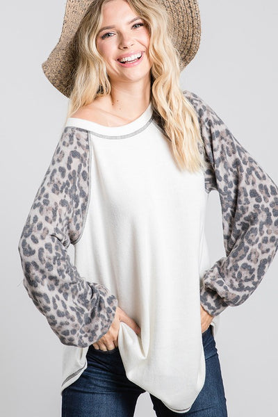 Charming You Boutique | Women's Top | Long Bubble Sleeve Animal Print