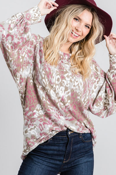 Charming You Boutique | Women's Top | Long Sleeve Animal Print Brushed