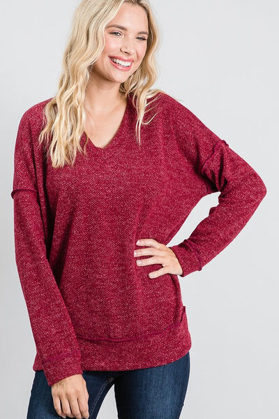 Charming You Boutique | Women's Top | V-Neck Banded Long Sleeve Top