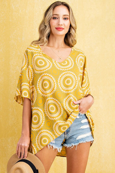 Charming You Boutique | Women's Top | V-Neck Short Sleeve Print Blouse