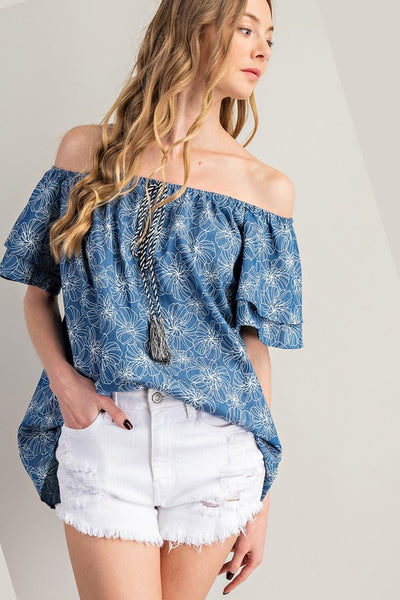 Charming You Boutique | Women's Top Denim Ruffled Floral Off Shoulder