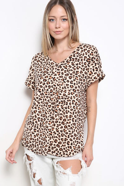 Charming You Boutique | Women's Top V-Neck Short Sleeve Animal Print