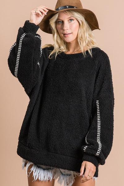 Charming You Boutique | Women's Top Solid Fleece Long Sleeve Pull over