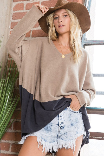 Charming You Boutique | Women's Top | Long Sleeve Color Block Brushed