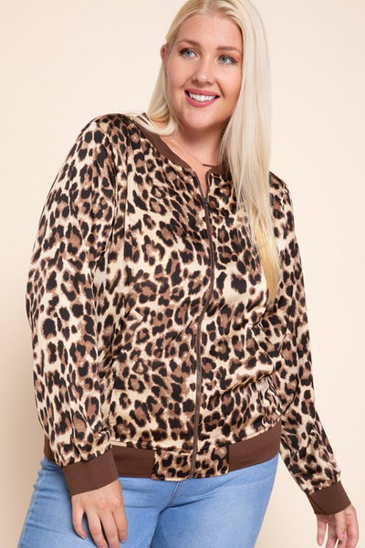 Charming You Boutique | Women's Outerwear | Animal Print Bomber Jacket