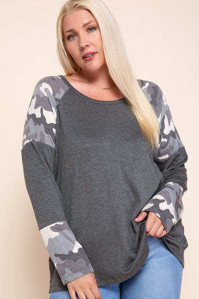 Charming You Boutique | Women's Pullover | Long Sleeve Camo Print Top