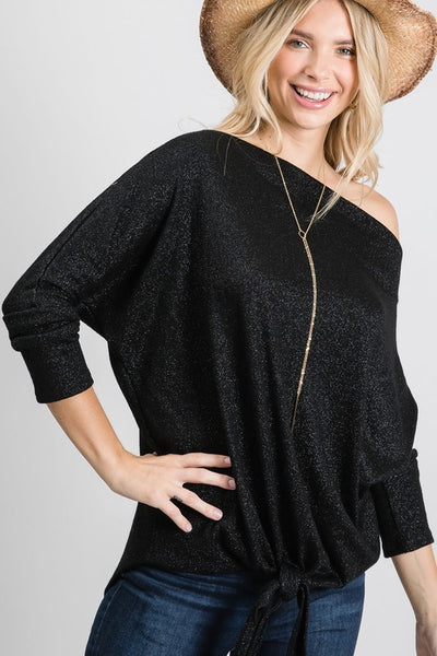 Charming You Boutique | Women's Top | Dolman Long Sleeve Self Tie Top