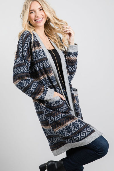 Charming You Boutique | Women's Cardigan | Long Sleeve Printed Open
