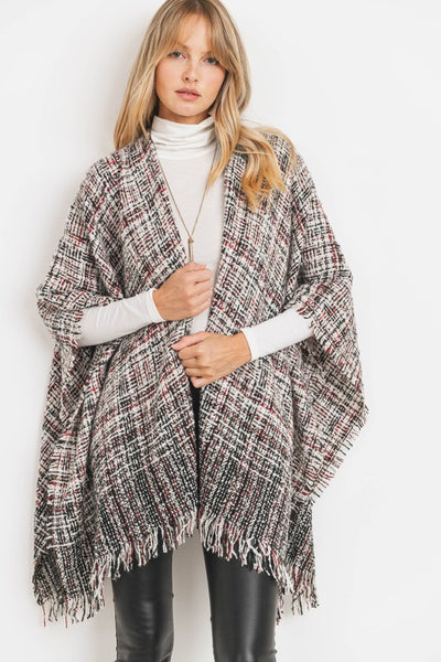 Charming You Boutique | Women's Cardigan | Print Fringed Detail Poncho
