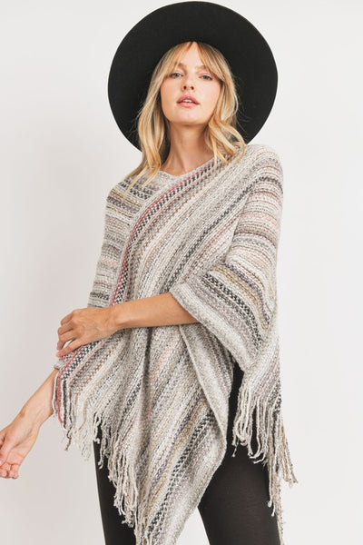 Charming You Boutique | Women's Top | Asymmetrical Sweater Knit Poncho