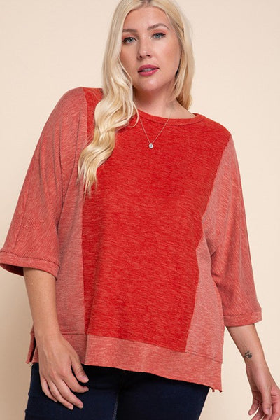 Charming You Boutique | Women's Top | Plus Size Double Brushed Mix Top