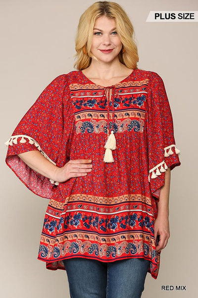 Charming You Boutique | Vintage Trendy Plus Size Tunics Tops, red