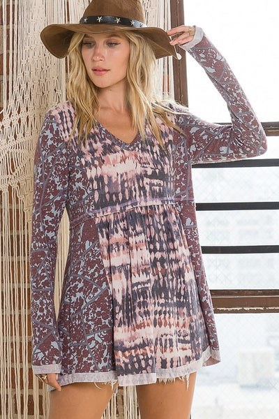 Charming You Boutique | Women's Top V-Neck Long Sleeve Print Babydoll