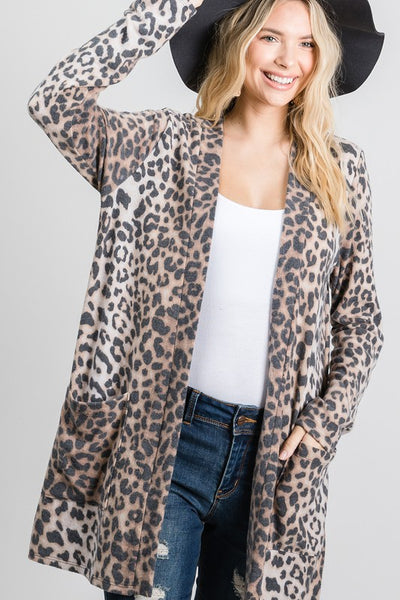 Charming You Boutique Women's Cardigan | Long Sleeve Animal Print