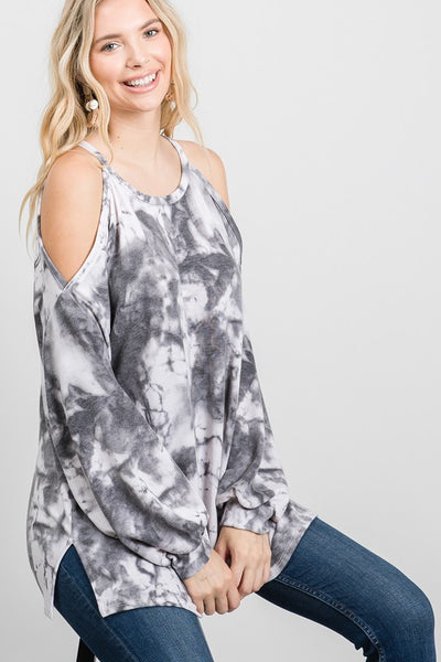 Charming You Boutique | Women's Top | Tie Dye Bubble Long Sleeve Top