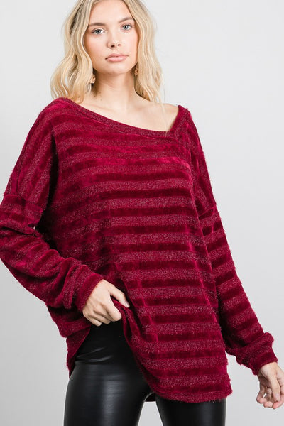 Charming You Boutique | Women's Top Chenille Stripe Lurex Long Sleeve