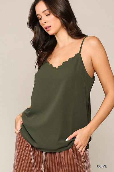 Charming You Boutique | Women's Crepe Scallop Neck Cami Top, olive