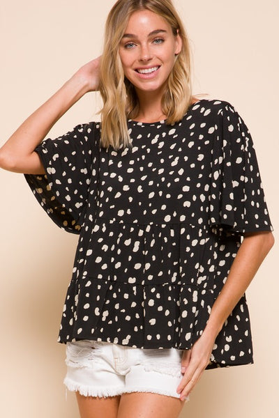 Charming You Boutique | Women's Top | Half Sleeve Speckled Print Top