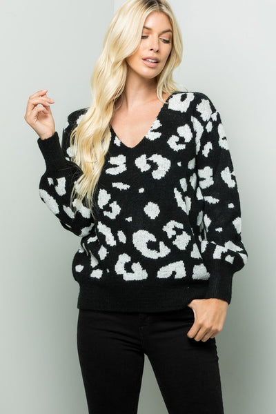 Charming You Boutique | Women's Top | Long Sleeve Animal Print Sweater