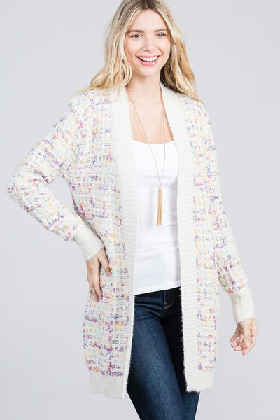 Charming You Boutique | Women's Cardigan | Tweed Fabric Long Sleeve