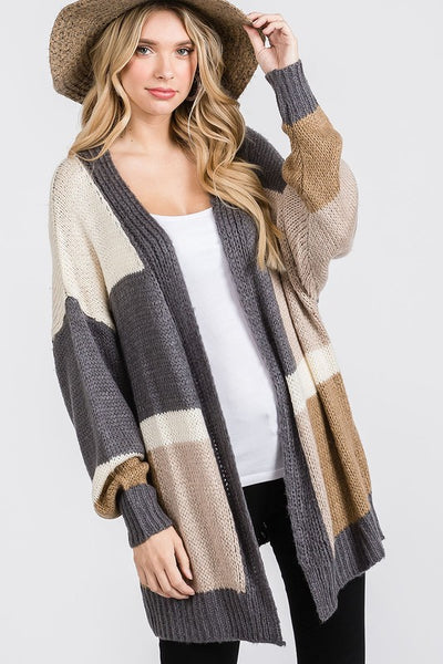 Charming You Boutique | Women's Cardigan | Long Sleeve Color Block