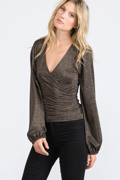 Charming You Boutique | Women's Top | Sexy Long Sleeve Metallic Wrap