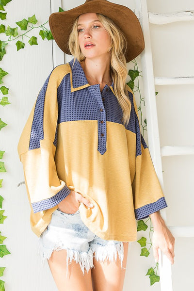 Charming You Boutique | Women's Top | Long Sleeve Color Block Collared