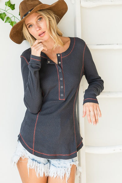 Charming You Boutique | Women's Top | Long Sleeve Snap Button Stitched