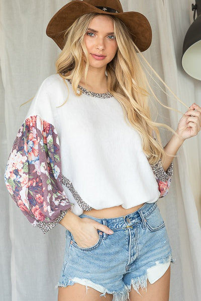 Charming You Boutique | Women's Top | Contrast Floral Long Sleeve Top