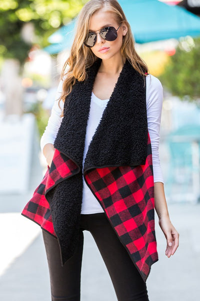 Charming You Boutique | Women's Vest | Plaid Fur Open Front Cozy Vest