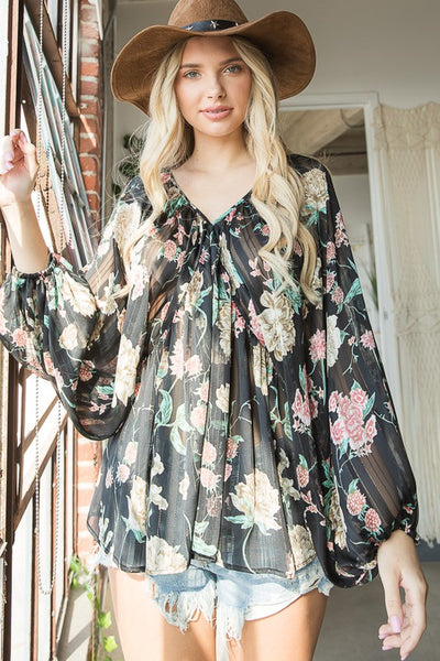 Charming You Boutique | Women's Top | V-Neck Long Sleeve Floral Blouse