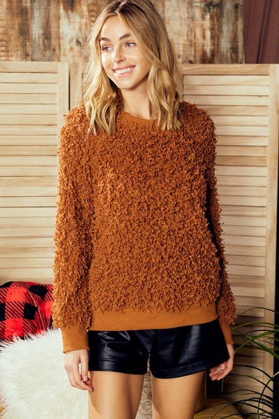 Charming You Boutique | Women's Top | Long Sleeve Texture Boucle Knit