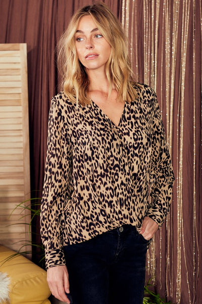 Charming You Boutique Women's Top Long Sleeve Animal Print Wrap Shirt