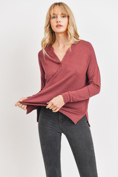 Charming You Boutique | Women's Top | Long Sleeve V-Neck Casual
