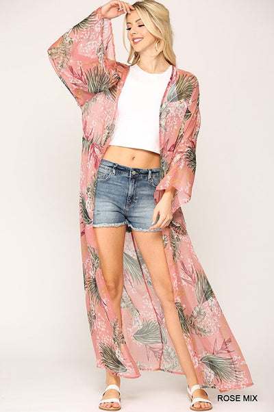 Charming You Boutique | Stylish Women's Tropical Tie Long Kimono, rose