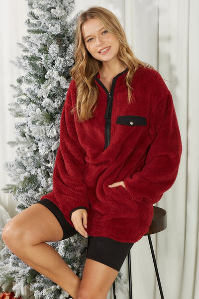 Charming You Boutique | Women's Top | Fuzzy Fur Long Sleeve Pullover