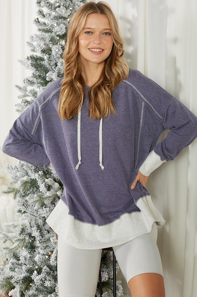 Charming You Boutique | Women's Top | 2 Toned Long Sleeve Hoodie Top