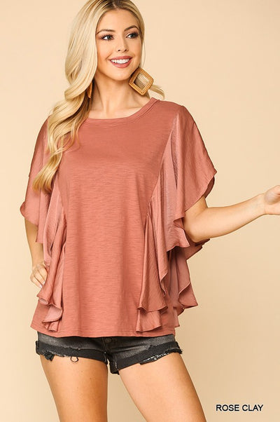 Charming You Boutique | Women's Washed Satin Flowy Sleeves Top, rose clay