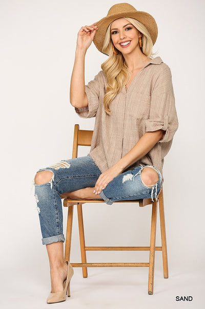 Charming You Boutique | Women's Half Sleeve Woven Cotton Shirt, sand