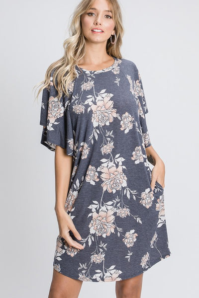 Charming You Boutique | Women's Dress | Floral Print Ruffled Sleeve