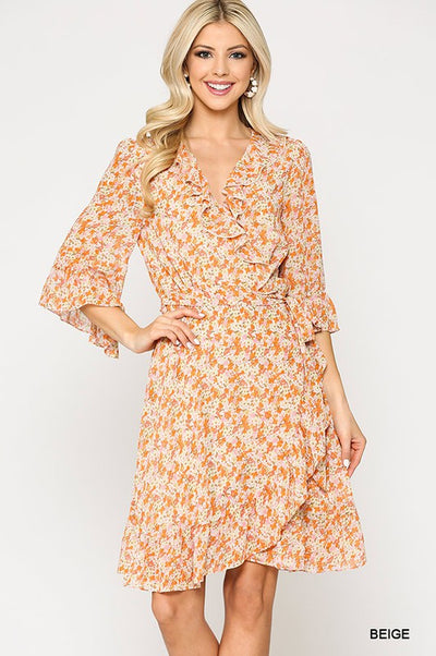 Charming You Boutique | Women's Chiffon Floral Ruffle Dress, beige