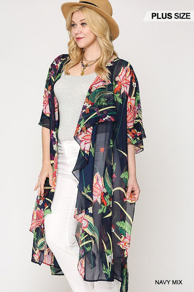 Charming You Boutique | Women's Plus Size  Floral Kimono, navy